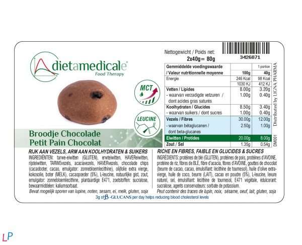 Chocoladebroodjes 2x40 g vezelrijk Bètaglucanen Vegan