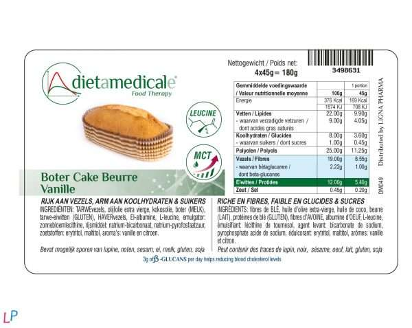 Vanille botercakes 4 x 45 g met bètaglucanen