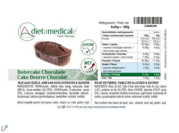 Chocolade botercake 4 x 45 g met bètaglucanen