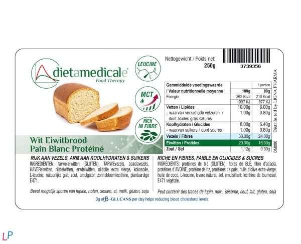 LOW CARB wit brood vezelrijk/betaglucanen VEGAN 250g 3 porties